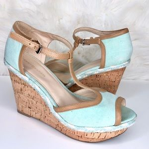 TOMMY HILFIGER | turquoise braided cork wedge